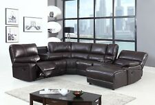6 Pcs Dark Brown standard Leather Air Motion Sectional with pushback chaise