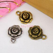 8Pcs Tibetan Silver,Gold,Bronze Rose Flower Charms Pendants 14x17.5mm M1132