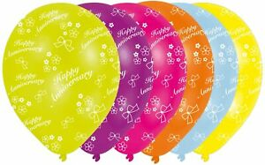 Pack of 6 Happy Anniversary Balloons Party Decoration Wedding Party Mix Colours