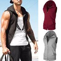 Men Sport Casual Hoodie Sleeveless Vest Waistcoat Gym jogging Tops Hooded tanks