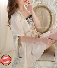 Satin Patternless Short Plus Size Nightwear for Women