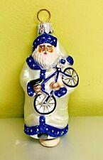 Patricia Breen First Bicycle Santa #2153 Mini Blue White Glitter 2001 Glass Bike