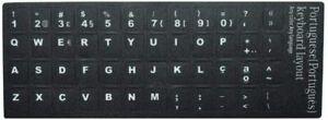 Portuguese Português Keyboard Stickers Opaque Black Background White Letters