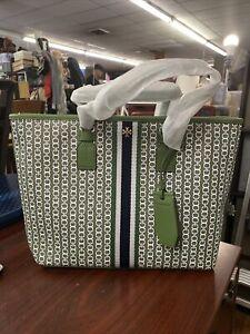 TORY BURCH Gemini Link Large Canvas Top Zip Tote Bag Deep Shiso Style #53304