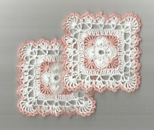 """New Item 2 Crochet Small Round Doilies Doily 4"""" White and Peach"""