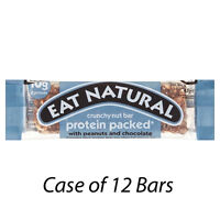 EAT NATURAL CRUNCHY NUT BARS x 12 PROTEIN PACKED WITH PEANUTS & CHOCOLATE 217478