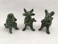"Hand Made Green Glazed Fantast Animal 2"" Ceramic Figurines Set of 3 Musicians"