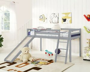 Kids Bunk Bed Mid Sleeper with Slide and Ladder Wooden Cabin Bed White Grey Wood
