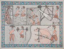 """Madhubani Folk Art Colorful Painting Tribal India Tribesmen Life size 22x30"""""""