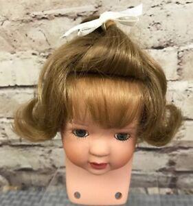 "Porcelain Doll Head Swivel Base 4 1/2"" Blonde Flip Blue Eyes Parts Make Restore"