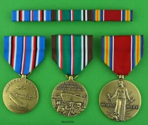 WWII European African, American Theater Service - 3 Medals & Mounted Ribbon Bar