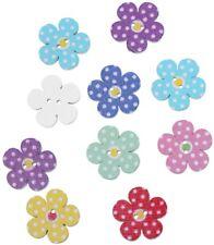 100 Stück Holzknöpfe Blume Bunt gepunktet 20x20mm 2 Löcher Deko Nähen Basteln