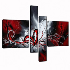 Huge Wall Art - 4 Ready to Hang Oil Paintings on Canvas - Abstract Modern Decor