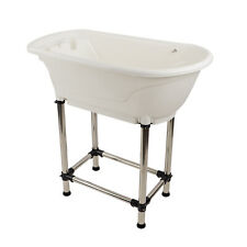 MiMu Raised Dog Bathtub in White - Medium Pet Grooming Tub Elevated Dog Bath Tub