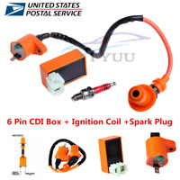 Racing 6 Pin CDI+Ignition Coil+Spark Plug for GY6 50cc 125cc 150cc Moped Scooter