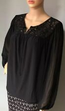 Wallis Womens top Lace Detail Long Sheer Sleeves Black UK Size 12 Brand New