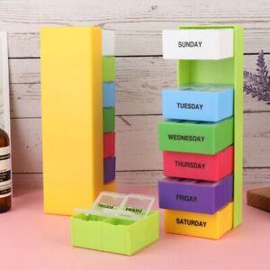 7 Day Large Pill Box Organiser Holders Tablet Reminder Storage Case Weekly JpEkI