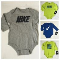 Nike Long Sleeved Bodysuit, Size 0-3, 3-6, 6-9, 9-12 months, Baby Boys Gift