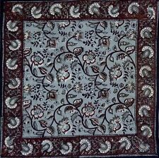 Handmade 100% Cotton Table Napkin Dabu Floral Block Print Earth Gray