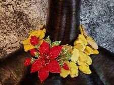 Haute Couture Yellow Howlite Statement Necklace with HUGE Red Rhinestone Flower