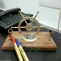 Brass Vintage Pen Holder With Compass & Wooden Ship Wheel Beautiful Item