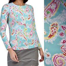 New listing IBKUL Crew Neck Long Sleeve Zip Top Shirt UPF 50 XL Sharon Seafoam Paisley Teal