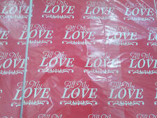 vintage gift wrap wrapping paper red with all my love graphic valentine NOS