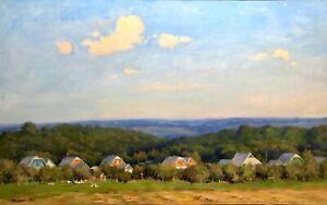 painting art socialist realism vintage landscape old Sheludko Village socrealizm