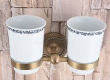 Antique Brass Wall Mounted Toothbrush Holder with Two Ceramic Cups Zba222