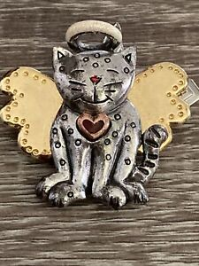 SILVER COLOR CAT ANGEL BROOCH PIN WINGS HALO