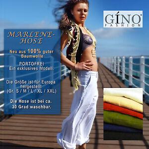 Damen MARLENE HOSE weites Bein Gr. 36-44, Baumwolle, Neu, Trend, Naturecke