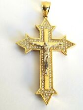 Jesus Cross Crucifix Charm 14k White Yellow Gold Pendant