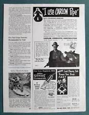 1953 Magazine Carlon Pipe Ad Photo Endorsement George Zimbelman of Keensburg CO