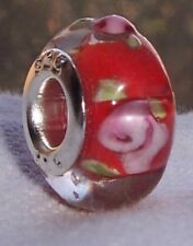 Red Pink Flower Roses Murano Glass Bead for Silver European Style Charm Bracelet