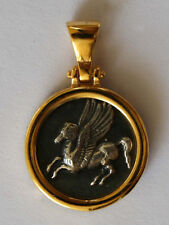 PEGASUS HISTORY BIG COIN PENDANT WITH CHAIN STERLING SILVER 925 GOLD PLATED