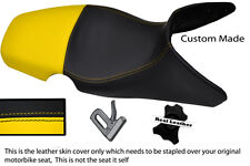 YELLOW & BLACK CUSTOM 01-07 FITS BMW F 650 GS REAL DUAL LEATHER SEAT COVER