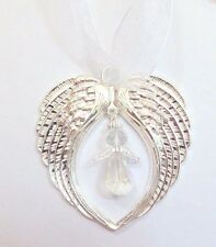 Guardian Angel Wings Gift Christmas Bright Silver Tree Decoration Crystal Angel