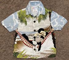 Disneyworld Kids Hawaiian Mickey Mouse Hammock Surfing Camp Shirt Youth Size Xxs
