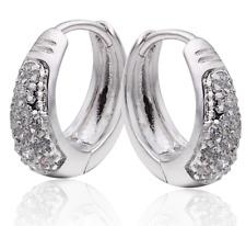 22K White Gold GP Triple Row Crystal 15mm Huggie Hoop Earrings E124
