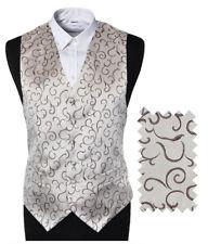"Men's Silver Berry Scroll Wedding Groom Ascot Waistcoat - Size 46"" / EU56 / 3XL"