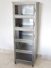 Industrial Display Cabinet With 5 Glass Doors Metal Storage Cupboard On Wheels