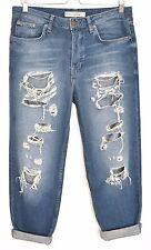 Topshop Slim Boyfriend HAYDEN Vintage Blue RIPPED Crop Jeans Size 10 W28 L30
