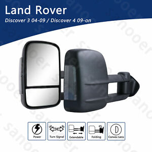 Pair Extendable Towing Mirrors Fits Land Rover Discovery 4 2009-UP Black New