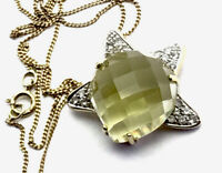 "9ct Gold QVC MOON & STAR Faceted Lemon Citrine Cz Pendant 18"" Chain GIFT BOXED"