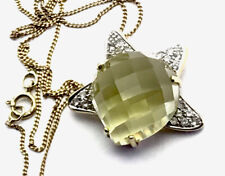 """9ct Gold QVC MOON & STAR Faceted Lemon Citrine Cz Pendant 18"""" Chain GIFT BOXED"""
