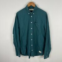 Libertine Mens Button Up Shirt Large Green Long Sleeve Collared