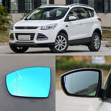 Rearview Mirror Blue Glasses LED Turn Signal with Power Heating For Ford KUGA