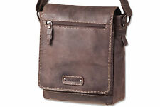 Woodland Men's Leather Shoulder Bag with Many Compartments IN Dark Brown