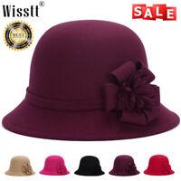 2017 Vintage Ladies Womens Wool Felt Bucket Hat Cloche Derby Bowler Cap Voguish