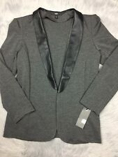 NWT Target Mossimo Gray Black Faux Leather Blazer Jacket Sz XL